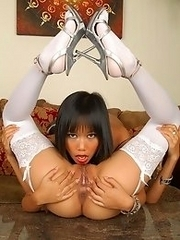 Sexy Asian playthings kissing