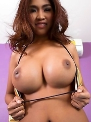 Busty Thai Tittiporn showing tits and creampie